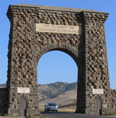 Entrance arch at north entrance to Yellowstone
