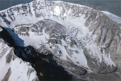 Exhibit photo of glaciers within St. Helens - Winter