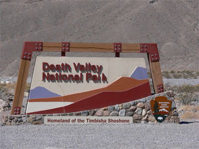Entrance sign to Death Valley National Park, Homeland of the Timbisha Shoshone.