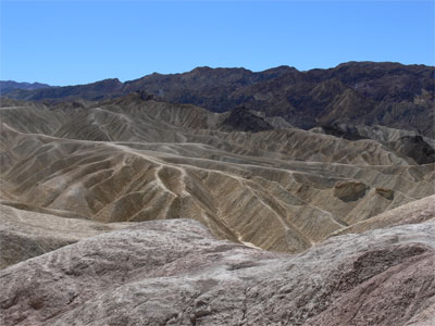 Eroded landscape overlooking Death Valley