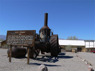Old Dinah steam tractor and ore wagon that replaced the mule train in 1894, and was in turn replaced be a train.