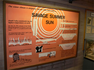 Waring sign about the Savage Summer Sun in Death Valley. Death Valley consistently has the highest temperatures on earth.