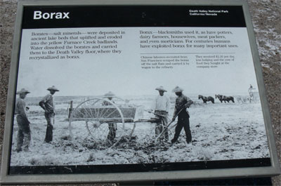 Chinese labourers recruited from San Fransisco, scraped the Borax off of the salt flats and carried it by wagon to the refinery.