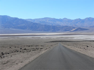 Road heading down to one of the lowest points on earth