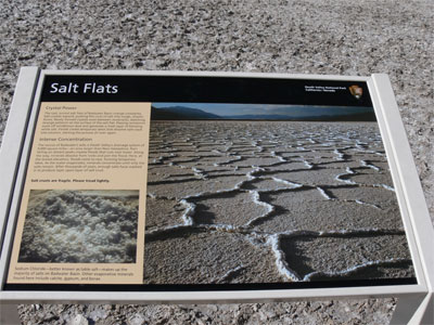 Salt Flats. The source of Badwater's salts is Death Valley's drainage system of 9000 square miles.