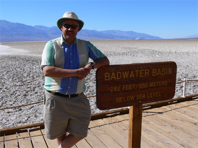 John at Badwater Basin, 282 feet below sea level.